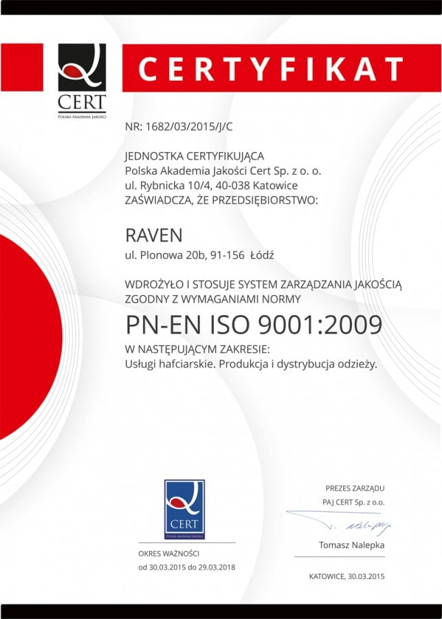 Firma Raven - certyfikat