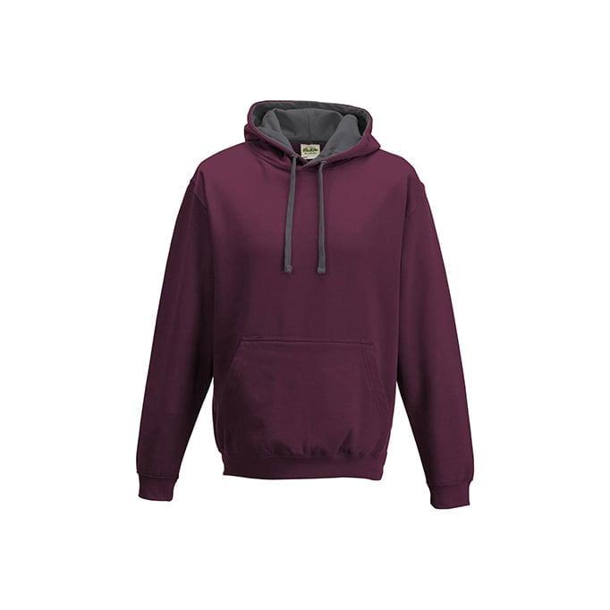 Bluzy - Bluza z kapturem Varsity Hoodie - Just Hoods JH003 - Burgundy/Charcoal - RAVEN - koszulki reklamowe z nadrukiem, odzież reklamowa i gastronomiczna
