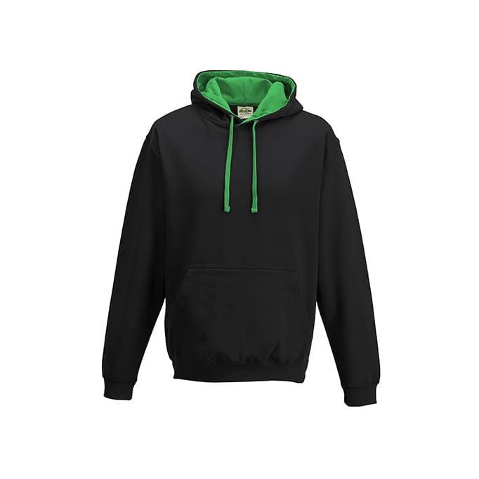 Bluzy - Bluza z kapturem Varsity Hoodie - Just Hoods JH003 - Jet Black/Kelly Green - RAVEN - koszulki reklamowe z nadrukiem, odzież reklamowa i gastronomiczna