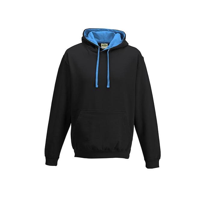 Bluzy - Bluza z kapturem Varsity Hoodie - Just Hoods JH003 - Jet Black/Sapphire Blue - RAVEN - koszulki reklamowe z nadrukiem, odzież reklamowa i gastronomiczna