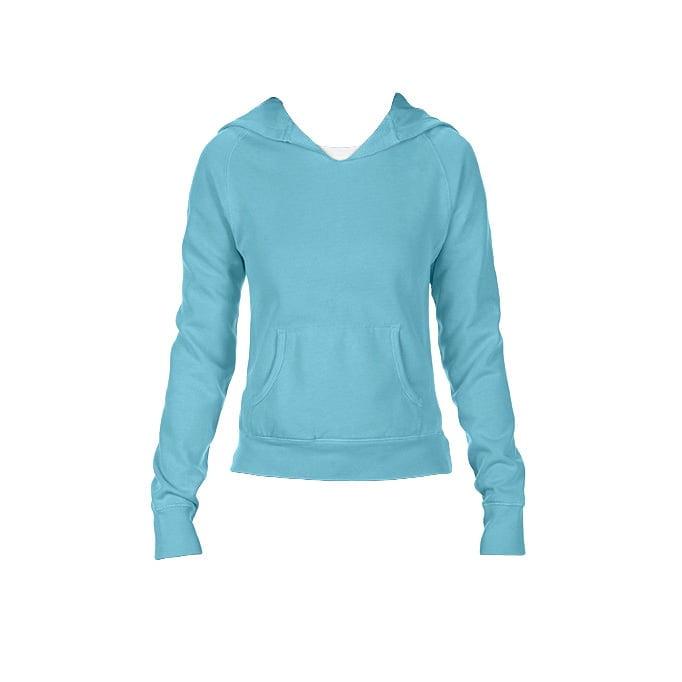 Bluzy - Damska bluza Hooded CC - Comfort Colors 1595 - Lagoon Blue - RAVEN - koszulki reklamowe z nadrukiem, odzież reklamowa i gastronomiczna
