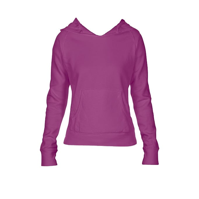 Bluzy - Damska bluza Hooded CC - Comfort Colors 1595 - Raspberry - RAVEN - koszulki reklamowe z nadrukiem, odzież reklamowa i gastronomiczna