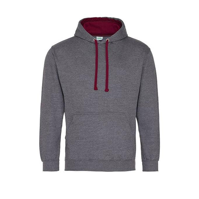 Bluzy - Bluza z kapturem Varsity Hoodie - Just Hoods JH003 - Charcoal/Burgundy - RAVEN - koszulki reklamowe z nadrukiem, odzież reklamowa i gastronomiczna