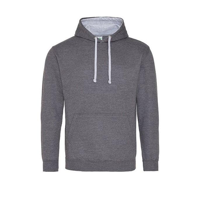 Bluzy - Bluza z kapturem Varsity Hoodie - Just Hoods JH003 - Charcoal/Heather Grey - RAVEN - koszulki reklamowe z nadrukiem, odzież reklamowa i gastronomiczna
