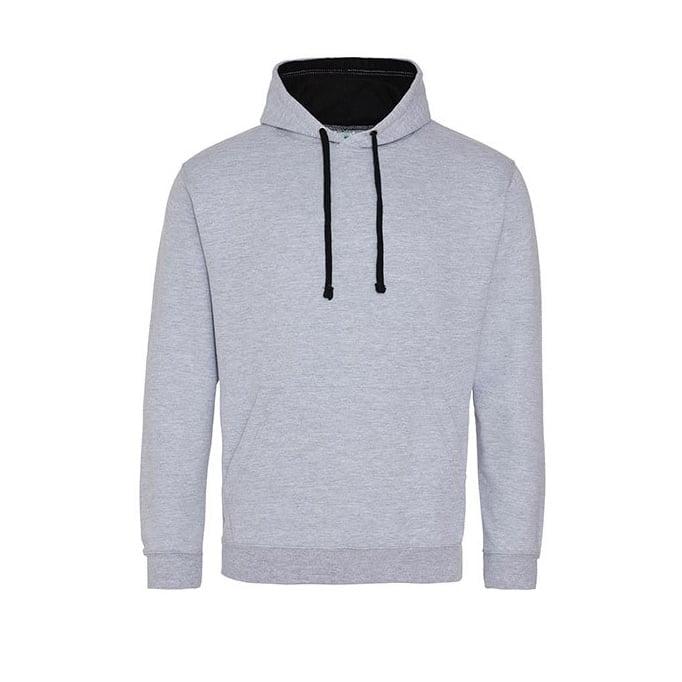 Bluzy - Bluza z kapturem Varsity Hoodie - Just Hoods JH003 - Heather Grey/Jet Black - RAVEN - koszulki reklamowe z nadrukiem, odzież reklamowa i gastronomiczna