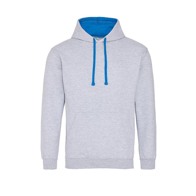 Bluzy - Bluza z kapturem Varsity Hoodie - Just Hoods JH003 - Heather Grey/Sapphire Blue - RAVEN - koszulki reklamowe z nadrukiem, odzież reklamowa i gastronomiczna