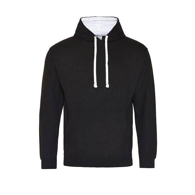 Bluzy - Bluza z kapturem Varsity Hoodie - Just Hoods JH003 - Jet Black/Arctic White - RAVEN - koszulki reklamowe z nadrukiem, odzież reklamowa i gastronomiczna