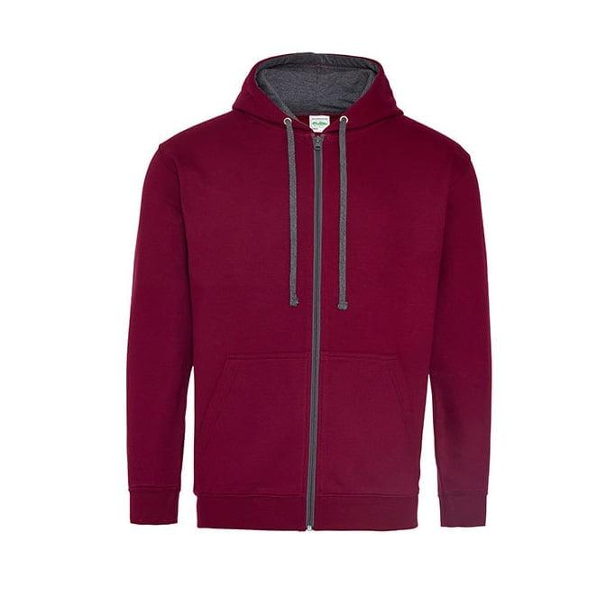 Bluzy - Bluza dwukolorowa Varsity Zoodie - Just Hoods JH053 - Burgundy/Charcoal - RAVEN - koszulki reklamowe z nadrukiem, odzież reklamowa i gastronomiczna