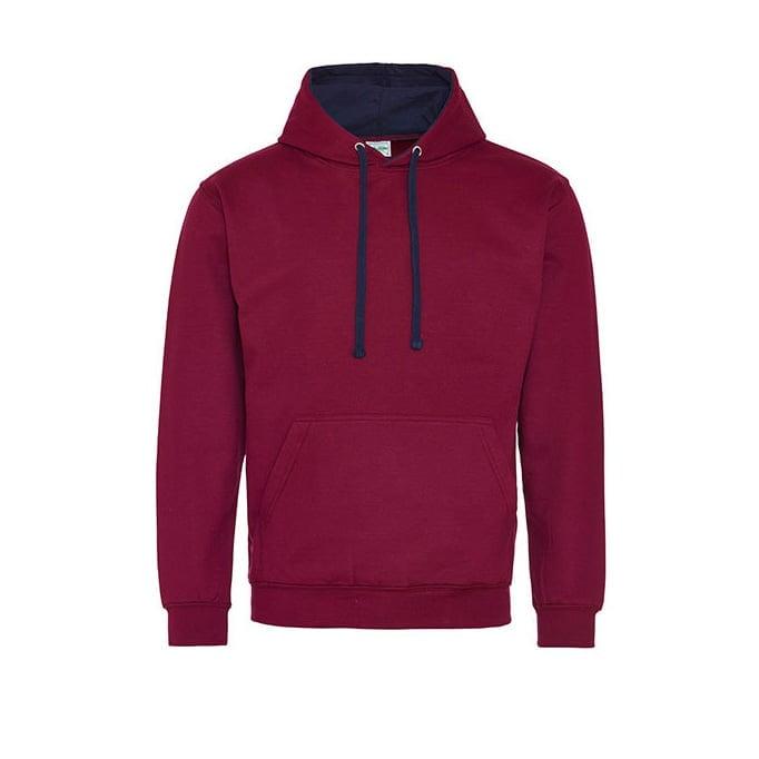 Bluzy - Bluza z kapturem Varsity Hoodie - Just Hoods JH003 - Burgundy/Oxford Navy - RAVEN - koszulki reklamowe z nadrukiem, odzież reklamowa i gastronomiczna