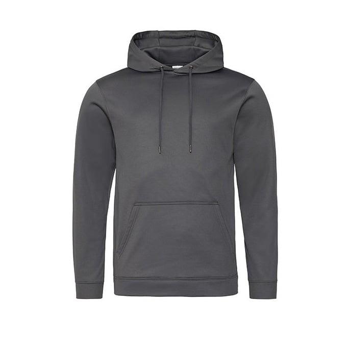 Bluzy - Bluza z kapturem Sport Polyester - Just Hoods JH006 - Steel Grey (Solid) - RAVEN - koszulki reklamowe z nadrukiem, odzież reklamowa i gastronomiczna