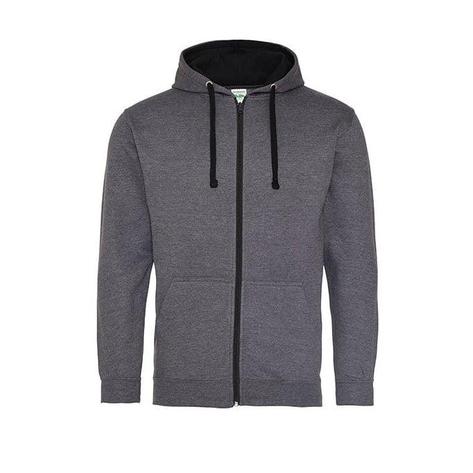 Bluzy - Bluza dwukolorowa Varsity Zoodie - Just Hoods JH053 - Charcoal/Jet Black - RAVEN - koszulki reklamowe z nadrukiem, odzież reklamowa i gastronomiczna