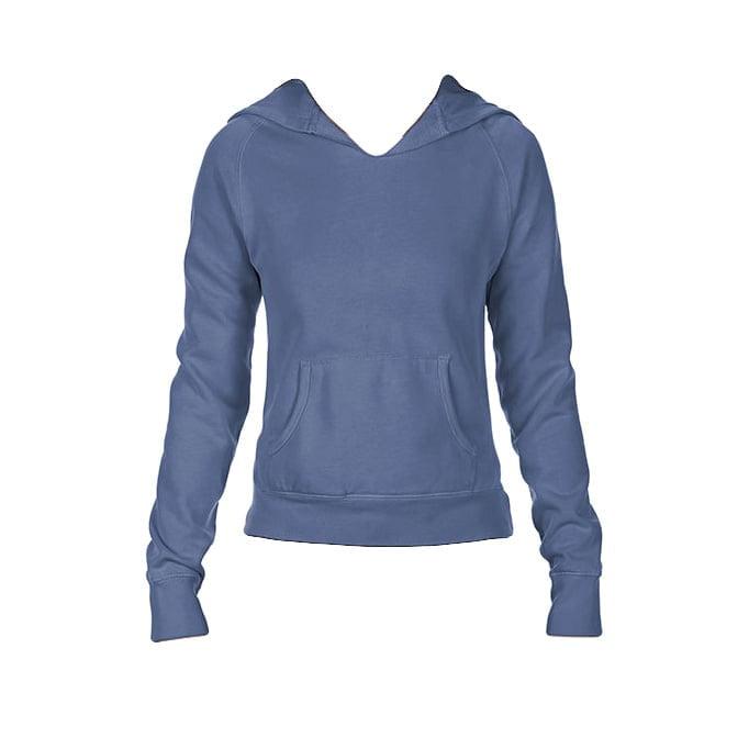 Bluzy - Damska bluza Hooded CC - Comfort Colors 1595 - Blue Jean - RAVEN - koszulki reklamowe z nadrukiem, odzież reklamowa i gastronomiczna