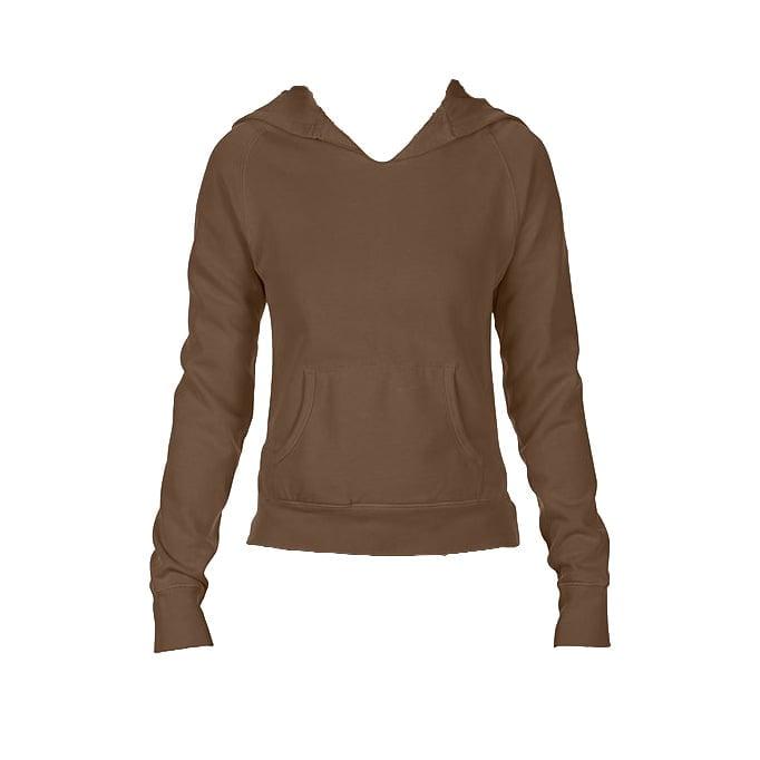 Bluzy - Damska bluza Hooded CC - Comfort Colors 1595 - Brown - RAVEN - koszulki reklamowe z nadrukiem, odzież reklamowa i gastronomiczna