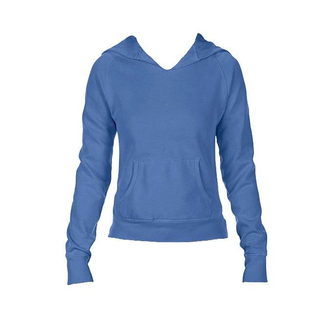 Bluzy - Damska bluza Hooded CC - Comfort Colors 1595 - Flo Blue - RAVEN - koszulki reklamowe z nadrukiem, odzież reklamowa i gastronomiczna