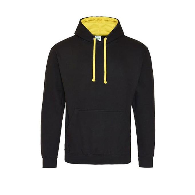Bluzy - Bluza z kapturem Varsity Hoodie - Just Hoods JH003 - Jet Black/Sun Yellow - RAVEN - koszulki reklamowe z nadrukiem, odzież reklamowa i gastronomiczna