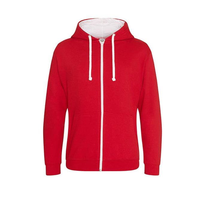 Bluzy - Bluza dwukolorowa Varsity Zoodie - Just Hoods JH053 - Fire Red/Arctic White - RAVEN - koszulki reklamowe z nadrukiem, odzież reklamowa i gastronomiczna