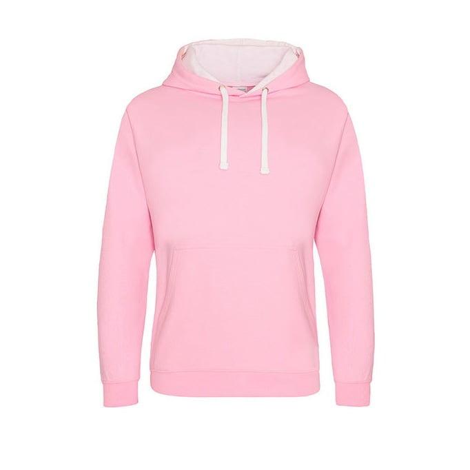 Bluzy - Bluza z kapturem Varsity Hoodie - Just Hoods JH003 - Baby Pink/ Arctic White - RAVEN - koszulki reklamowe z nadrukiem, odzież reklamowa i gastronomiczna