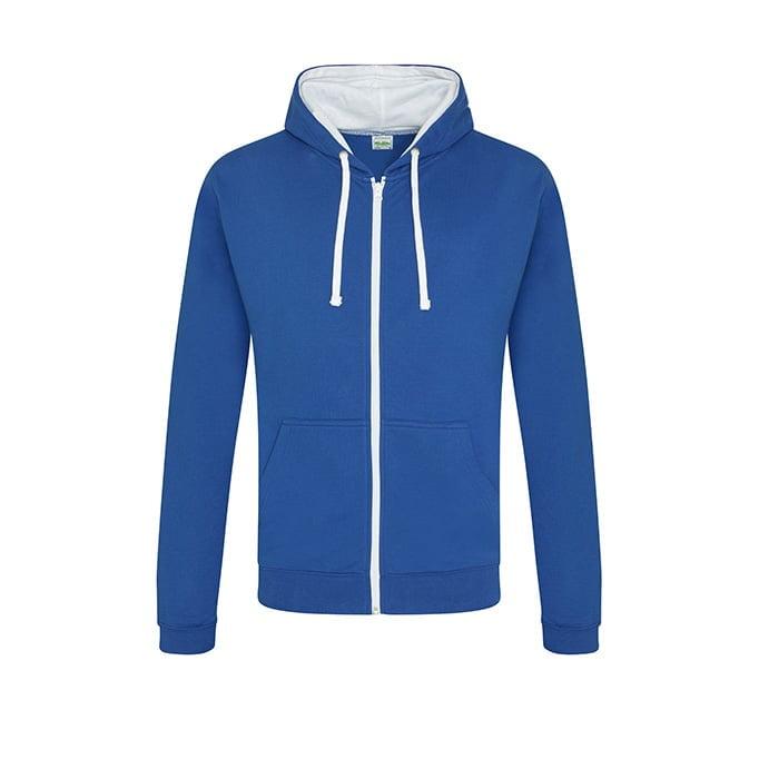 Bluzy - Bluza dwukolorowa Varsity Zoodie - Just Hoods JH053 - Royal Blue/Arctic White - RAVEN - koszulki reklamowe z nadrukiem, odzież reklamowa i gastronomiczna