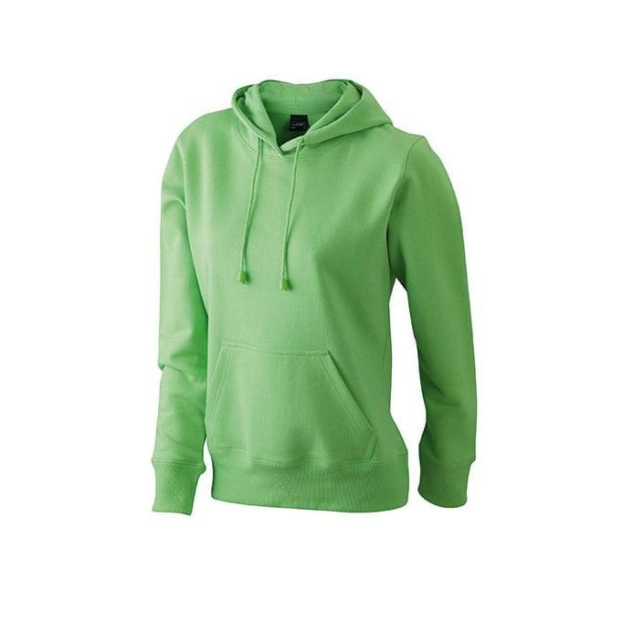 Bluzy - Damska bluza bez zamka Hooded Jacket - James & Nicholson JN051 - Lime Green - RAVEN - koszulki reklamowe z nadrukiem, odzież reklamowa i gastronomiczna