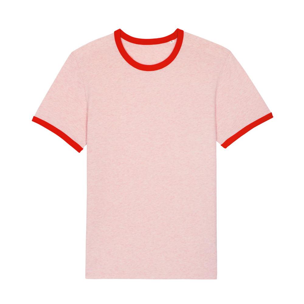 Koszulki T-Shirt - T-shirt Unisex Ringer - STTU827 - Cream Heather Pink/Bright Red - RAVEN - koszulki reklamowe z nadrukiem, odzież reklamowa i gastronomiczna