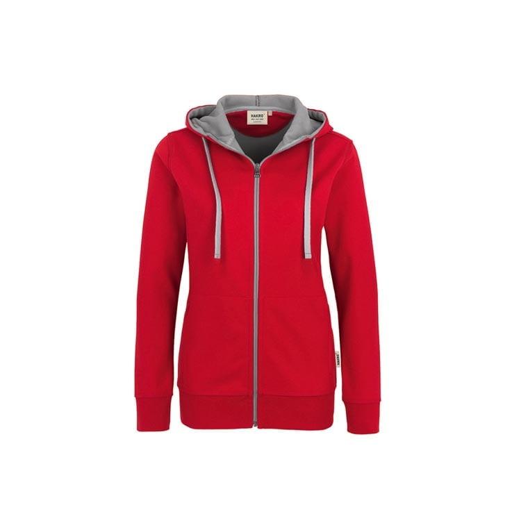 Bluzy - Damska bluza z kapturem 255 - Hakro 255 - Red - RAVEN - koszulki reklamowe z nadrukiem, odzież reklamowa i gastronomiczna