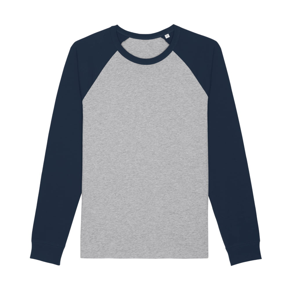 Koszulki T-Shirt - Unisex Longsleeve Catcher  - STTU826 - Heather Grey/French Navy - RAVEN - koszulki reklamowe z nadrukiem, odzież reklamowa i gastronomiczna
