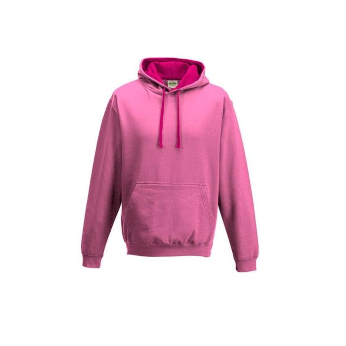 Bluzy - Bluza z kapturem Varsity Hoodie - Just Hoods JH003 - Candyfloss Pink/Hot Pink - RAVEN - koszulki reklamowe z nadrukiem, odzież reklamowa i gastronomiczna