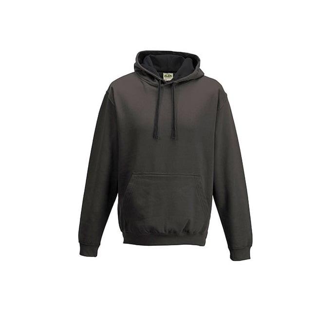 Bluzy - Bluza z kapturem Varsity Hoodie - Just Hoods JH003 - Charcoal/Jet Black - RAVEN - koszulki reklamowe z nadrukiem, odzież reklamowa i gastronomiczna