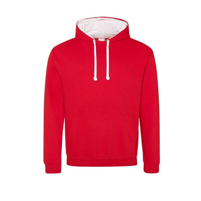 Bluzy - Bluza z kapturem Varsity Hoodie - Just Hoods JH003 - Fire Red/Arctic White - RAVEN - koszulki reklamowe z nadrukiem, odzież reklamowa i gastronomiczna