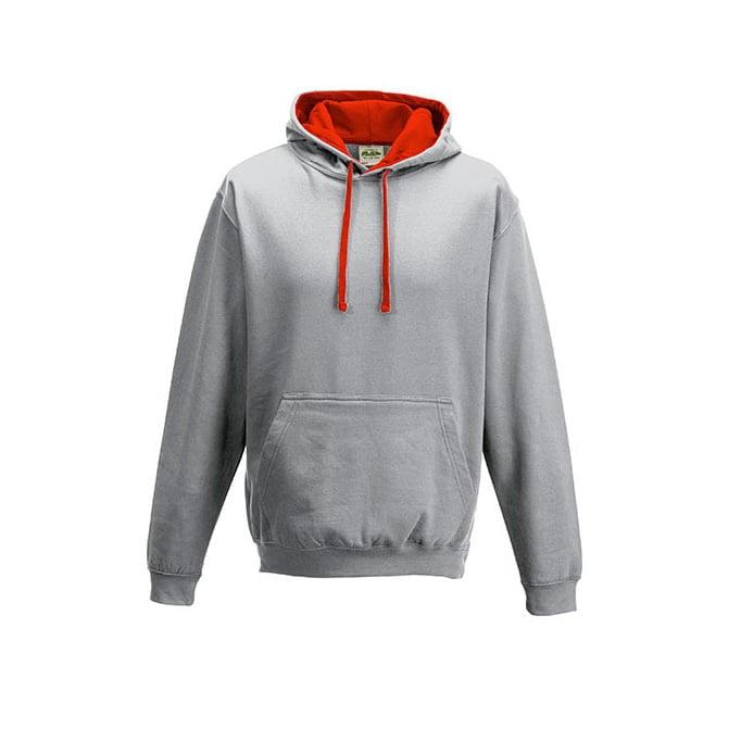 Bluzy - Bluza z kapturem Varsity Hoodie - Just Hoods JH003 - Heather Grey/ Fire Red - RAVEN - koszulki reklamowe z nadrukiem, odzież reklamowa i gastronomiczna