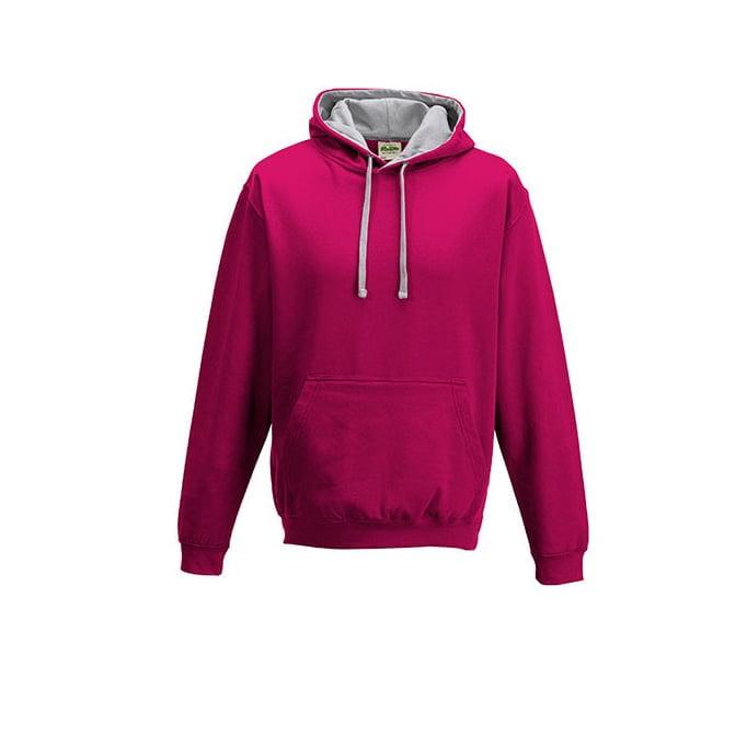 Bluzy - Bluza z kapturem Varsity Hoodie - Just Hoods JH003 - Hot Pink/ Heather grey - RAVEN - koszulki reklamowe z nadrukiem, odzież reklamowa i gastronomiczna