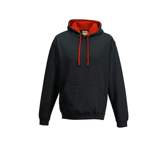 Bluzy - Bluza z kapturem Varsity Hoodie - Just Hoods JH003 - Jet Black/Fire Red - RAVEN - koszulki reklamowe z nadrukiem, odzież reklamowa i gastronomiczna