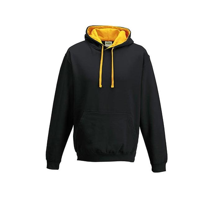 Bluzy - Bluza z kapturem Varsity Hoodie - Just Hoods JH003 - Jet Black/Gold - RAVEN - koszulki reklamowe z nadrukiem, odzież reklamowa i gastronomiczna