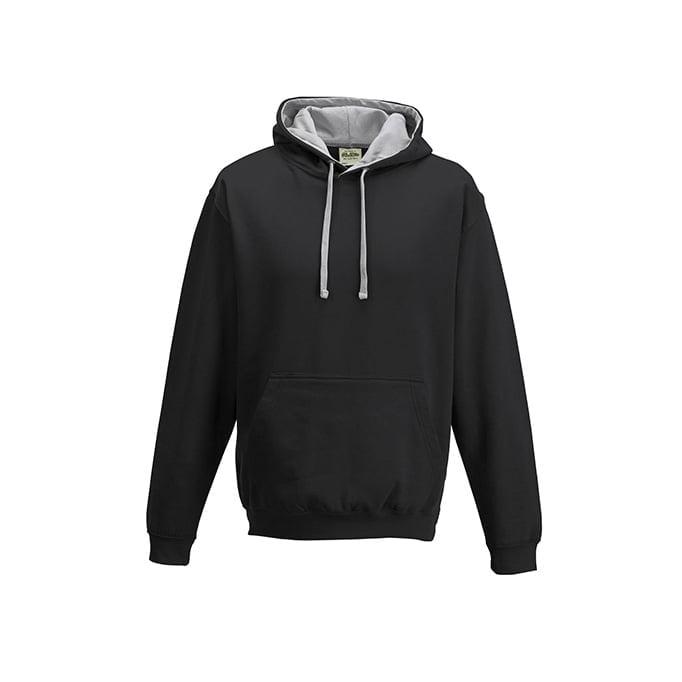 Bluzy - Bluza z kapturem Varsity Hoodie - Just Hoods JH003 - Jet Black/Heather Grey - RAVEN - koszulki reklamowe z nadrukiem, odzież reklamowa i gastronomiczna