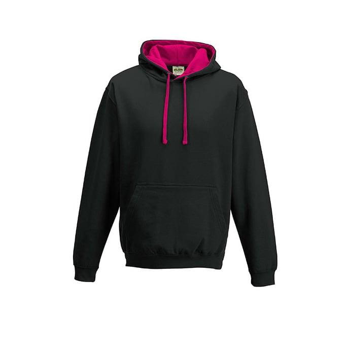 Bluzy - Bluza z kapturem Varsity Hoodie - Just Hoods JH003 - Jet Black/Hot Pink - RAVEN - koszulki reklamowe z nadrukiem, odzież reklamowa i gastronomiczna