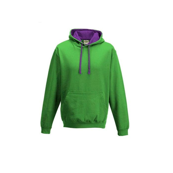 Bluzy - Bluza z kapturem Varsity Hoodie - Just Hoods JH003 - Lime Green/Magenta Magic - RAVEN - koszulki reklamowe z nadrukiem, odzież reklamowa i gastronomiczna