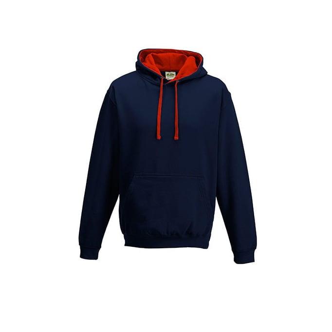 Bluzy - Bluza z kapturem Varsity Hoodie - Just Hoods JH003 - New French Navy/Fire Red - RAVEN - koszulki reklamowe z nadrukiem, odzież reklamowa i gastronomiczna