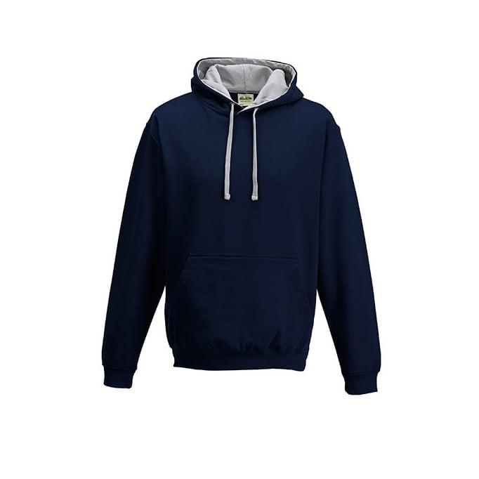 Bluzy - Bluza z kapturem Varsity Hoodie - Just Hoods JH003 - New French Navy/Heather Grey - RAVEN - koszulki reklamowe z nadrukiem, odzież reklamowa i gastronomiczna