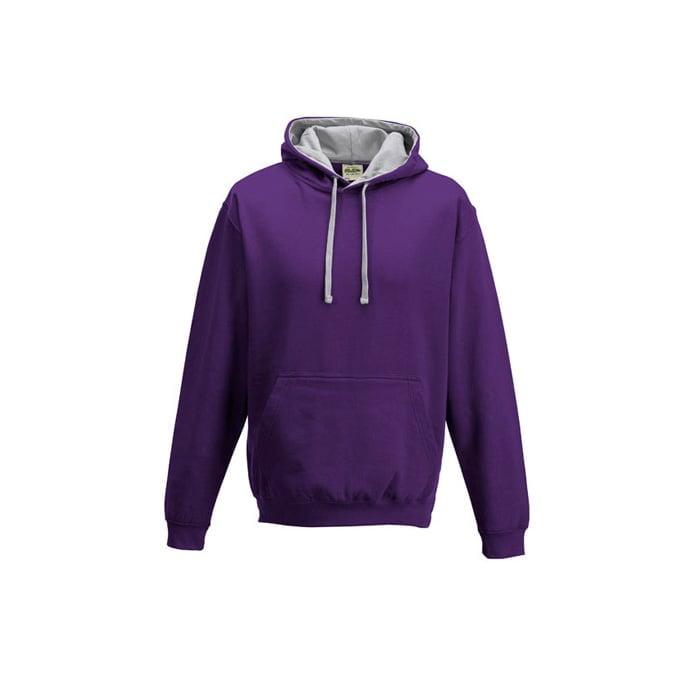 Bluzy - Bluza z kapturem Varsity Hoodie - Just Hoods JH003 - Purple/Heather Grey - RAVEN - koszulki reklamowe z nadrukiem, odzież reklamowa i gastronomiczna