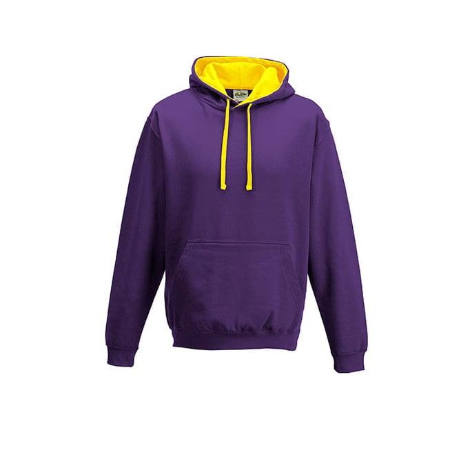 Bluzy - Bluza z kapturem Varsity Hoodie - Just Hoods JH003 - Purple/Sun Yellow - RAVEN - koszulki reklamowe z nadrukiem, odzież reklamowa i gastronomiczna
