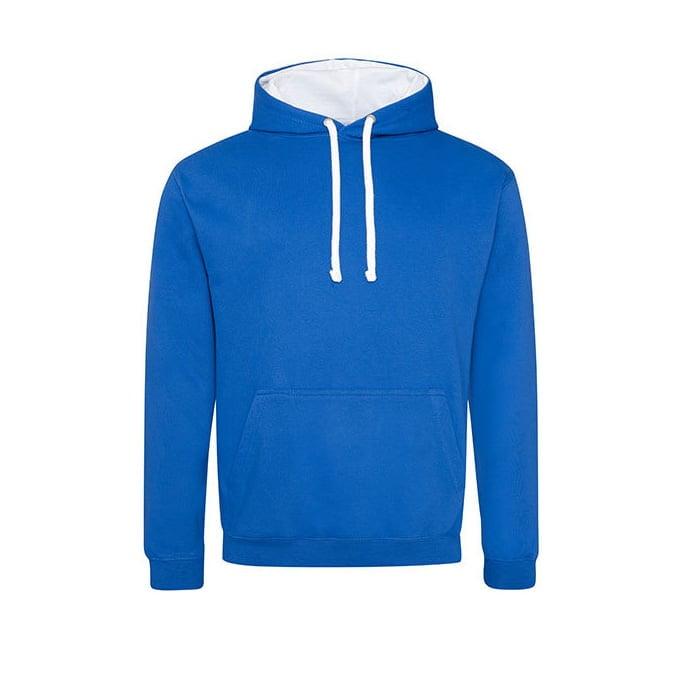 Bluzy - Bluza z kapturem Varsity Hoodie - Just Hoods JH003 - Royal Blue/Arctic White - RAVEN - koszulki reklamowe z nadrukiem, odzież reklamowa i gastronomiczna