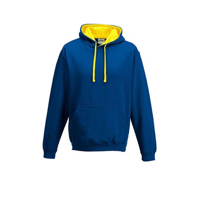 Bluzy - Bluza z kapturem Varsity Hoodie - Just Hoods JH003 - Royal Blue/Sun Yellow - RAVEN - koszulki reklamowe z nadrukiem, odzież reklamowa i gastronomiczna