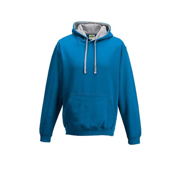 Bluzy - Bluza z kapturem Varsity Hoodie - Just Hoods JH003 - Sapphire Blue/Heather Grey - RAVEN - koszulki reklamowe z nadrukiem, odzież reklamowa i gastronomiczna