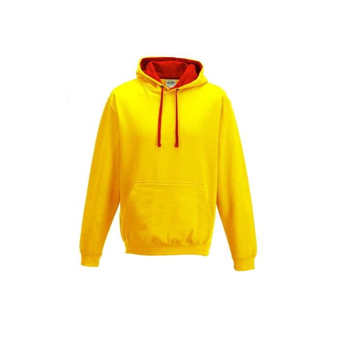 Bluzy - Bluza z kapturem Varsity Hoodie - Just Hoods JH003 - Sun Yellow/ Fire Red - RAVEN - koszulki reklamowe z nadrukiem, odzież reklamowa i gastronomiczna