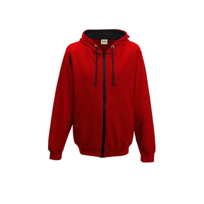 Bluzy - Bluza dwukolorowa Varsity Zoodie - Just Hoods JH053 - Fire Red/Jet Black - RAVEN - koszulki reklamowe z nadrukiem, odzież reklamowa i gastronomiczna