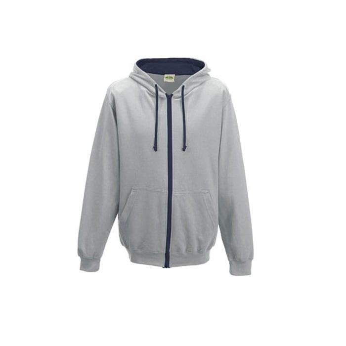 Bluzy - Bluza dwukolorowa Varsity Zoodie - Just Hoods JH053 - Heather Grey/French Navy - RAVEN - koszulki reklamowe z nadrukiem, odzież reklamowa i gastronomiczna