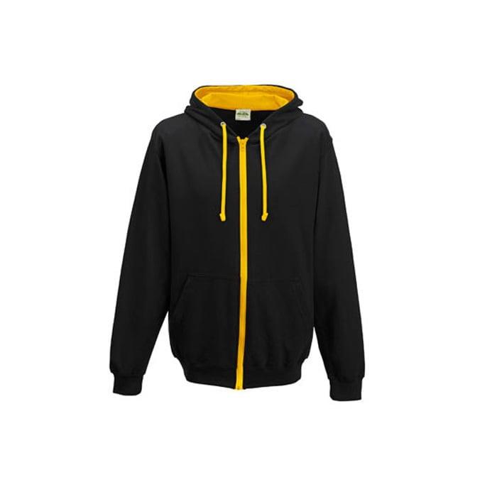 Bluzy - Bluza dwukolorowa Varsity Zoodie - Just Hoods JH053 - Jet Black/Gold - RAVEN - koszulki reklamowe z nadrukiem, odzież reklamowa i gastronomiczna