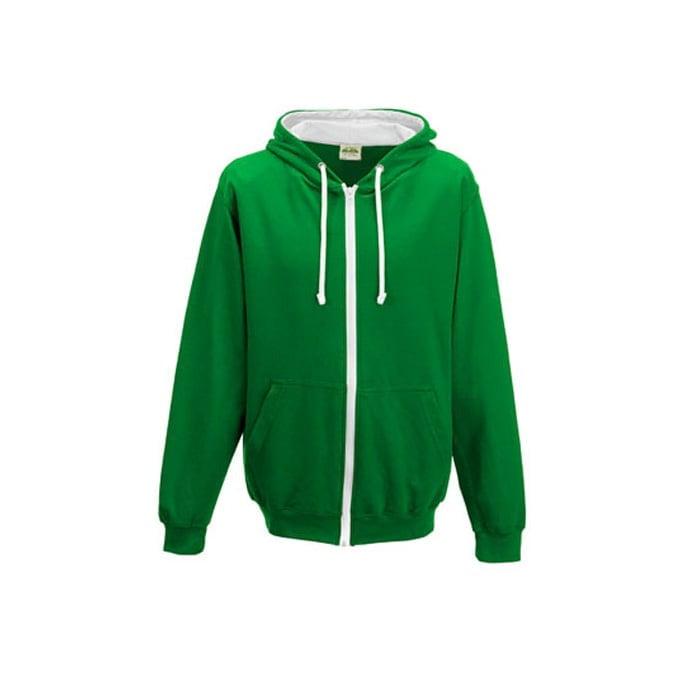 Bluzy - Bluza dwukolorowa Varsity Zoodie - Just Hoods JH053 - Kelly Green/Arctic White - RAVEN - koszulki reklamowe z nadrukiem, odzież reklamowa i gastronomiczna