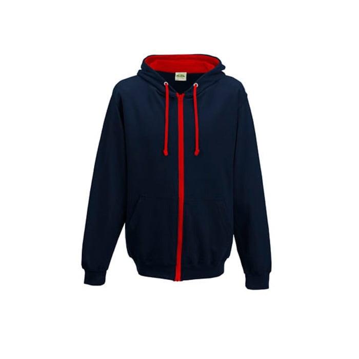 Bluzy - Bluza dwukolorowa Varsity Zoodie - Just Hoods JH053 - New French Navy/baby Blue - RAVEN - koszulki reklamowe z nadrukiem, odzież reklamowa i gastronomiczna