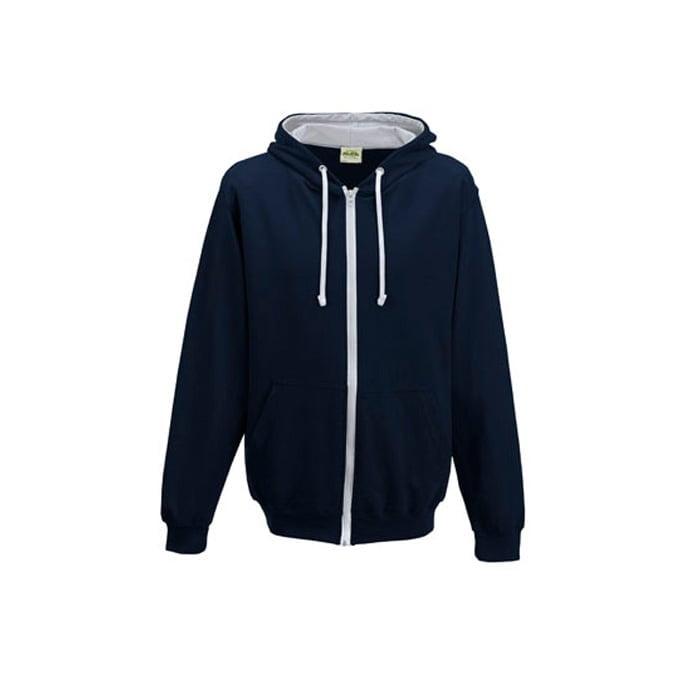 Bluzy - Bluza dwukolorowa Varsity Zoodie - Just Hoods JH053 - New French Navy/Heather Grey - RAVEN - koszulki reklamowe z nadrukiem, odzież reklamowa i gastronomiczna
